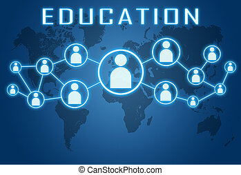 Education concept on blue background with world map and...