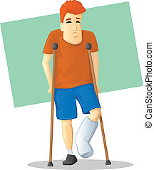 On Crutches - Cartoon man with bandaged foot walking on...