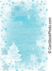 Blue or turquoise wooden christmas background with snow,...