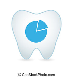 Tooth with a piechart icon - Illustration of an isolated...