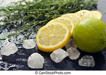 Tarragon with lemon, sugar and lime - Fresh tarragon with...