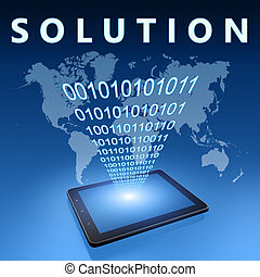 Solution illustration with tablet computer on blue...