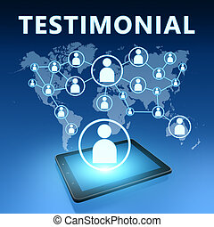 Testimonial illustration with tablet computer on blue...