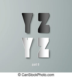 vector paper graphic alphabet white and black yz