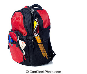 Red School Back Pack - A red school back pack or book bag...