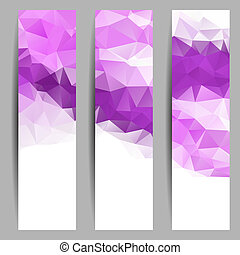 Set of banners with abstract triangles - Set of banners with...