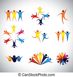 people, friends, children vector icons and design elements...