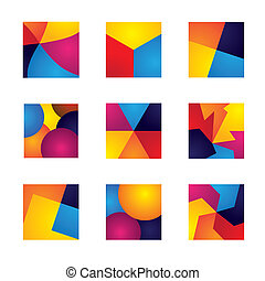 colorful squares with divisions vector icons of design...