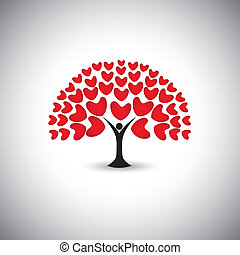 heart or love icons and people as tree or plant - concept...
