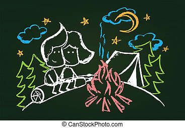 Illustration of chalked characters with marshmallow in the...