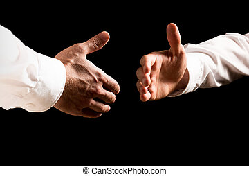 Businessmen about to shake hands - Two businessmen about to...
