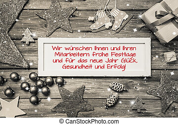 Greeting card for christmas with german text for merry...