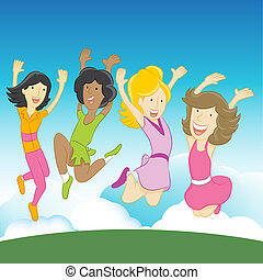 Happy Girls - An image of happy girls jumping in the air.