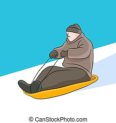 Sledding Man - An image of man riding on a sled
