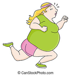 Overweight Runner - An image of a female overweight runner.