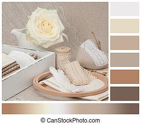 Costura, y, bordado, arte, Kit, sastrería,...