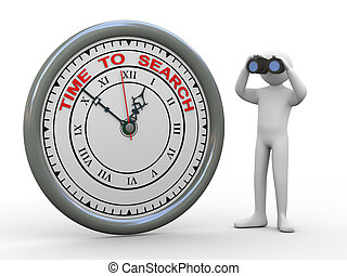 3d man time to search clock - 3d illustration of person with...