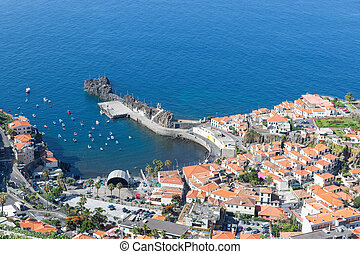 Aerial view harbor of Camara do Lobos at Madeira, Portugal -...