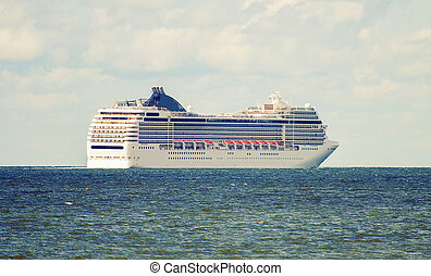 Large cruise ship in the sea.