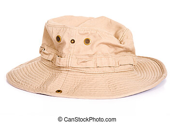 Boonie Hat - A khaki brown Boonie hat or sun hat on a white...