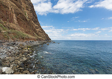 Coastline of Madeira with high cliffs along the Atlantic...