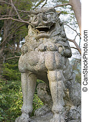 Stone lion of Japanese style.