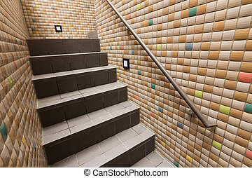 Mosaic texture wall with stairs