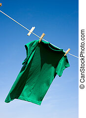 A Green T-Shirt on Clothesline