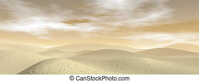 Sand desert - 3D render - Sand desert with dunes by brown...