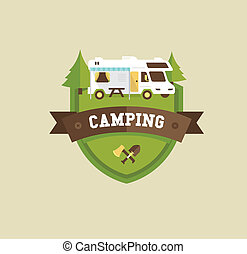 RV camping resort partk flat style illustration
