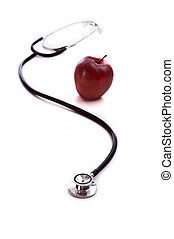Red Apple and a Stethescope - A red apple and a doctor or...