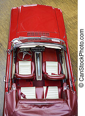 Retro Car - Retro Convertible Beige-Red Car from Above