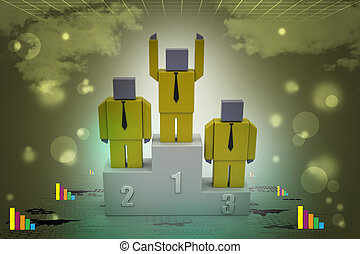 3d person in a podium winning first place