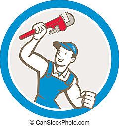 Plumber Holding Monkey Wrench Circle Cartoon - Illustration...