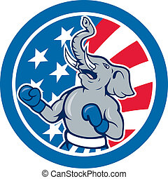 Republican Elephant Boxer Mascot Circle Cartoon -...