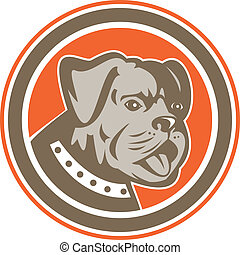 Bulldog Dog Mongrel Head Mascot Circle