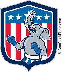 Republican Elephant Boxer Mascot Shield Cartoon -...