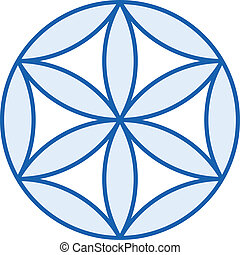 Baby Flower of Life starts to grow up. A geometrical figure,...