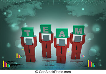 3d people holding hands in the word team