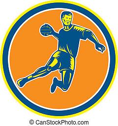 Handball Player Jumping Throwing Ball Circle Woodcut -...