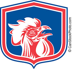 Chicken Rooster Head Mascot Shield Retro