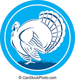 Wild Turkey Side View Circle Retro - Illustration of a wild...
