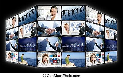 Black frame television multiple screen wall with business...