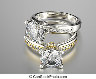 Golden Engagement Ring with Jewelry gemstone - Golden...