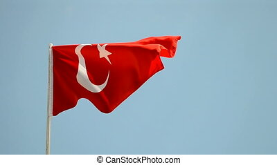 turkish flag on blue sky, turkey travel
