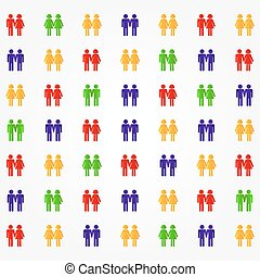 Pictogram of diverse couples - Small and colorful pictograms...
