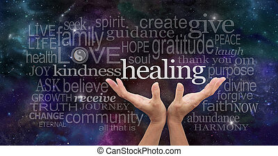 Infinite Healing Words - Healers open palms reaching up with...