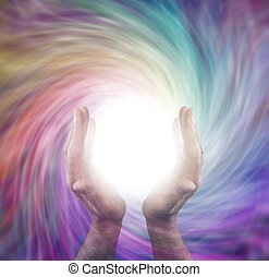Divine Energy Energy - Male healer with outstretched hands...