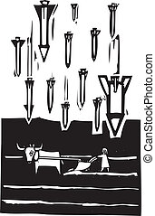 Missiles and Plow - Woodcut style image of missiles falling...