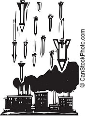 Missiles over factory - Woodcut style image of missiles...